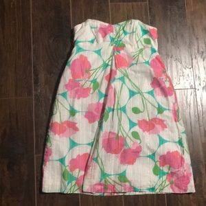 Lilly Pulitzer floral pink white green dress 0